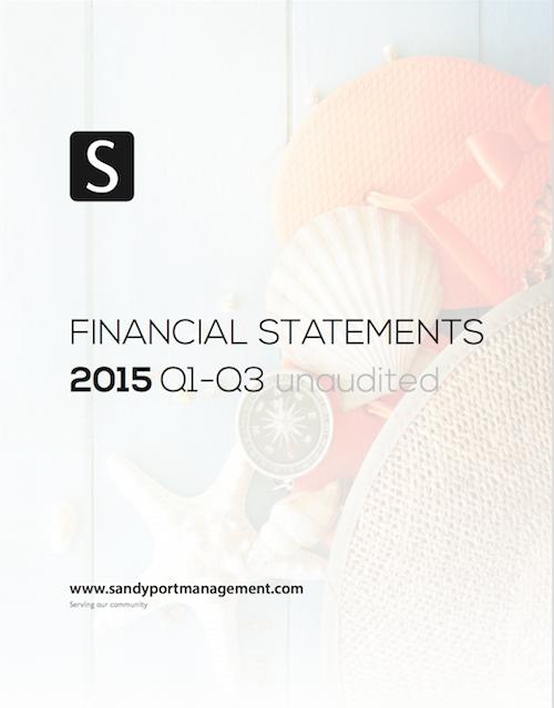 Sandyport 2015 Q1-Q3 Statements